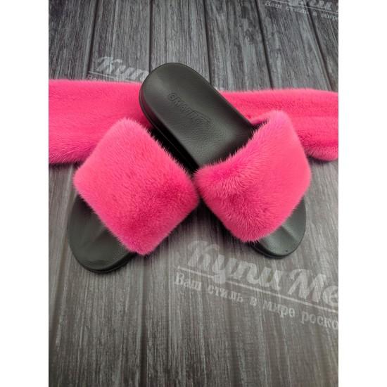 Тапочки цвета фукси из меха норки