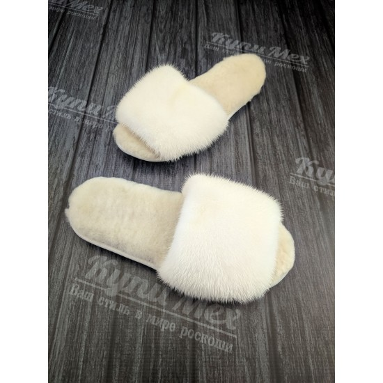 Домашние белые тапочки из меха норки