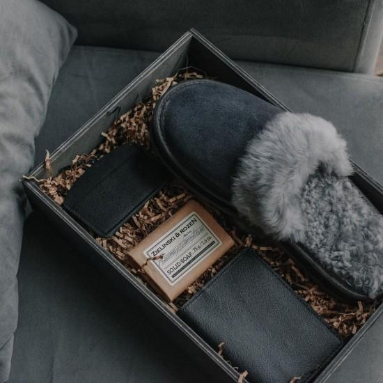 Мужские тапочки из натурального меха и замши